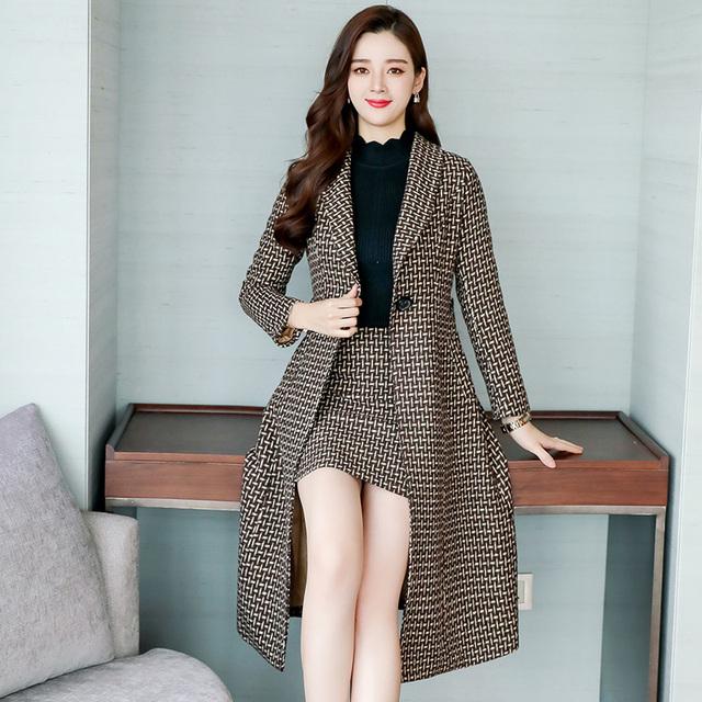 Woolen skirt and coat, women's two-piece suit