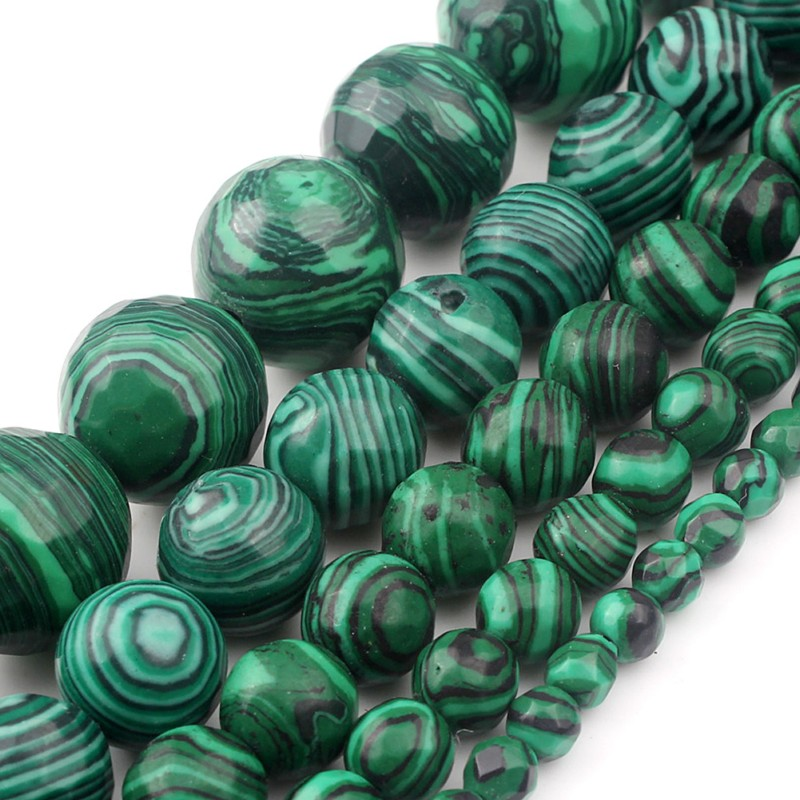 Faceted Natural Green Malachite Round Loose Stone Beads For Jewelry Making DIY Necklace Bracelets 4 6 8 10 12mm 15inch Wholesale