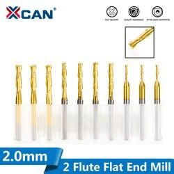XCAN 10 sztuk 2.0mm 2 flet płaski frez czołowy 8/12/17/22mm długość cięcia 3.175 Shank frez węglikowy CNC wiertło do grawerowania