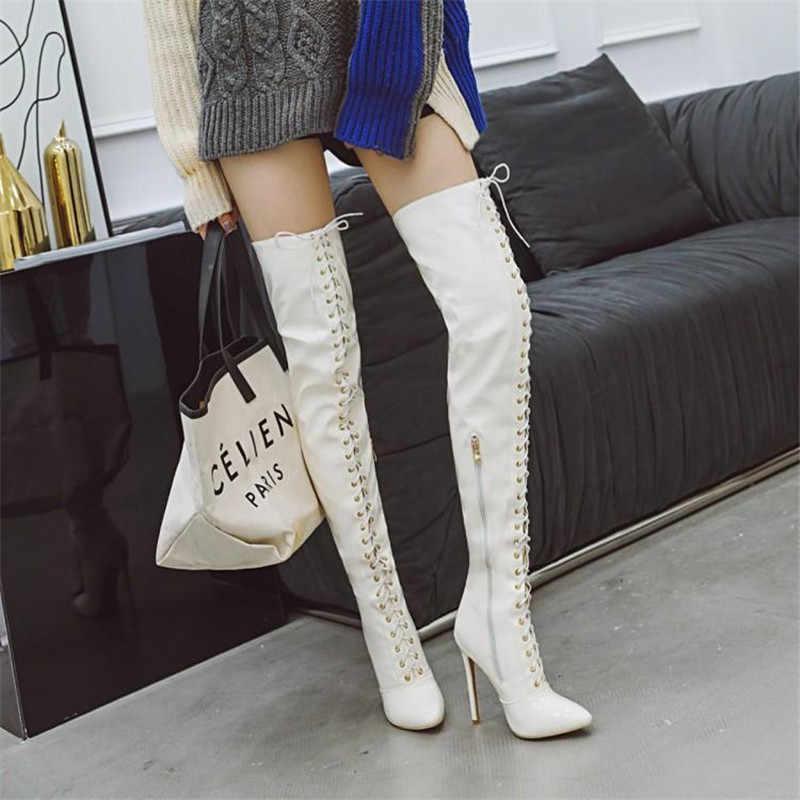Prova Perfetto Uyluk Yüksek Çizmeler Kadın Ön bağcıklı Diz Botları Kış Ayakkabı Kadın Sivri Burun Yüksek topuklu Botas Mujer