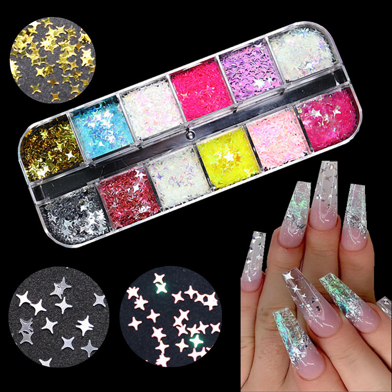 1 Bag Gold Silver Holographic Glitter Laser Four-pointed Star Shape Acrylic Laser Glitter for Nails Art Decoration 12 colors