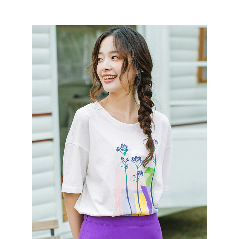 INMAN 2020 Summer New Arrival Dropped-shoulder Sleeve Loose Personality Printed Leisure T-shirt