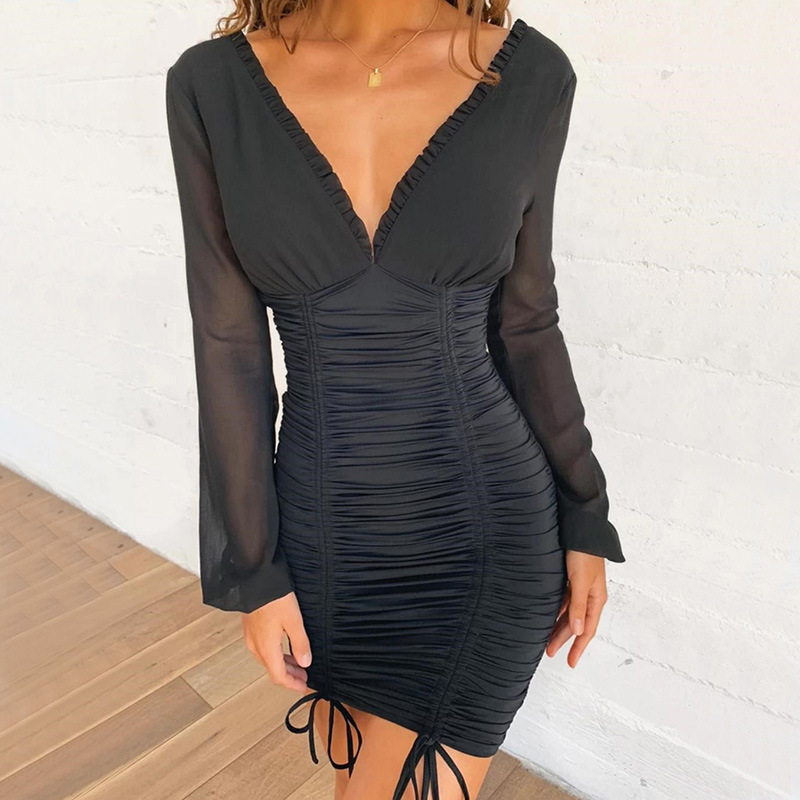 Cryptographic Mesh Transparent Mini Dress Women Long Sleeve Patchwork Ruched Casual Dresses 2019 New V Neck Backless Solid Dress in Dresses from Women 39 s Clothing