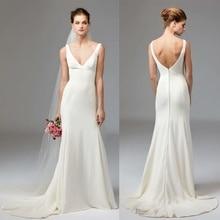 2021 New Sexy V-neck Open Back Fishtail Slim Princess Wedding Dress Off White Belt Wedding Dress