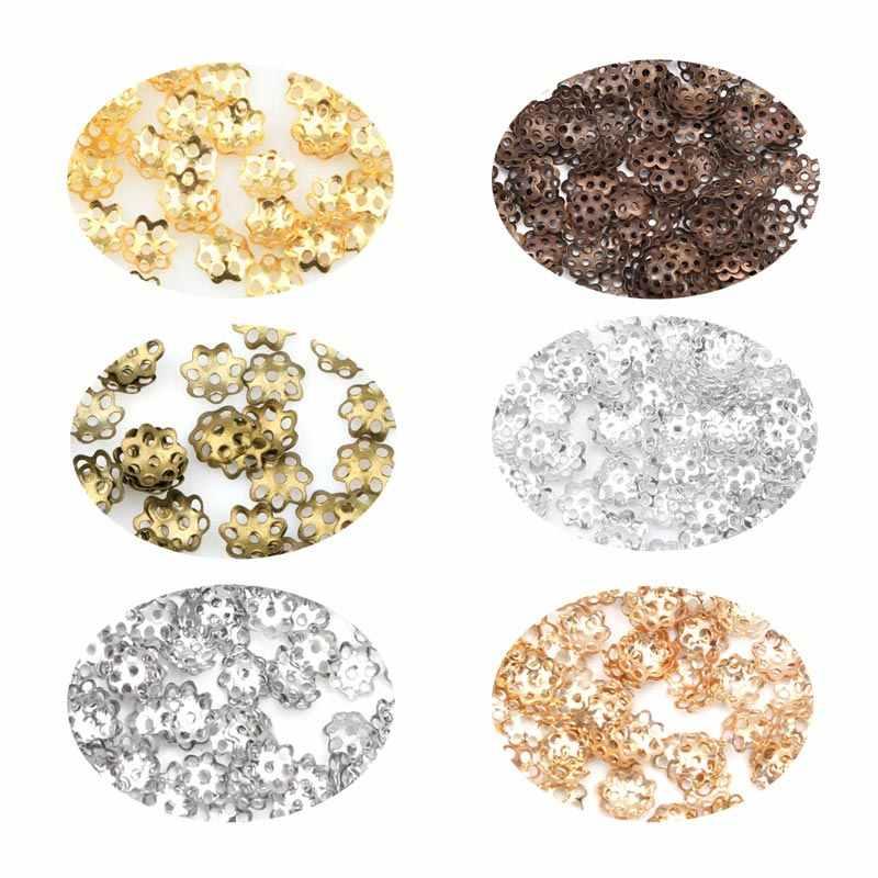 1000 unids/lote 6mm abalorios de flor de Diy joyería encontrar suelto de aleación de Torus espaciador granos tapas para la fabricación de la joyería accesorios