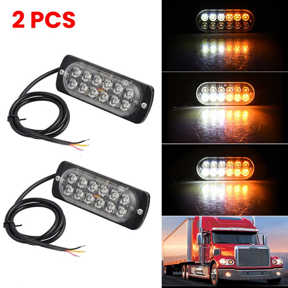 2Pcs Ultra-thin Car Lights Assembly Amber 36W LED Police Lights 12 LED Car Truck Emergency Side Strobe Warning Light Car-stylin