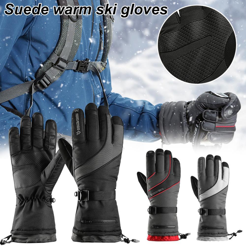 Men Women Winter Ski Gloves  Fleece Thermal   Waterproof  Solid Color Warm Waterproof  Cycling Gloves  With Zipper Pocket