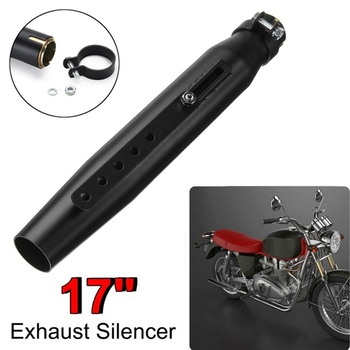 Universal 17inch Motorcycle Exhaust Muffler Pipe Tip Retro Vintage Rear Pipe Tube Exhause-Silencer for Honda Bobbers Cafe Racer