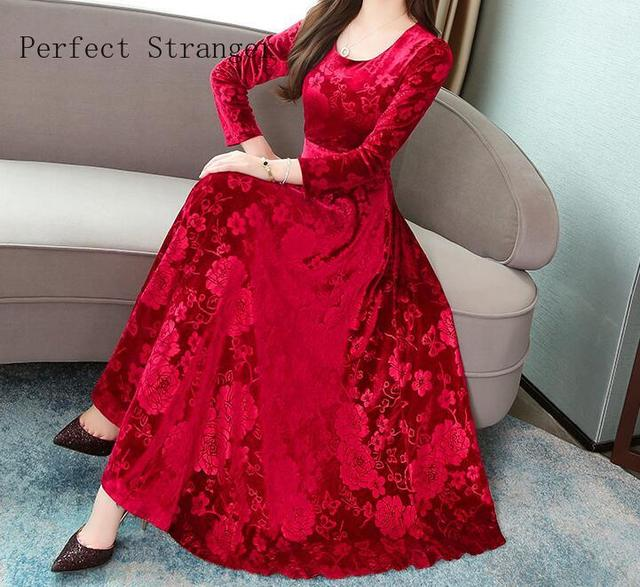 2019  Autumn Winter New Arrival High Quality Plus Size M-3XL  Round Collar Flower Printed  Long Sleeve Woman Long Velvet Dress 3