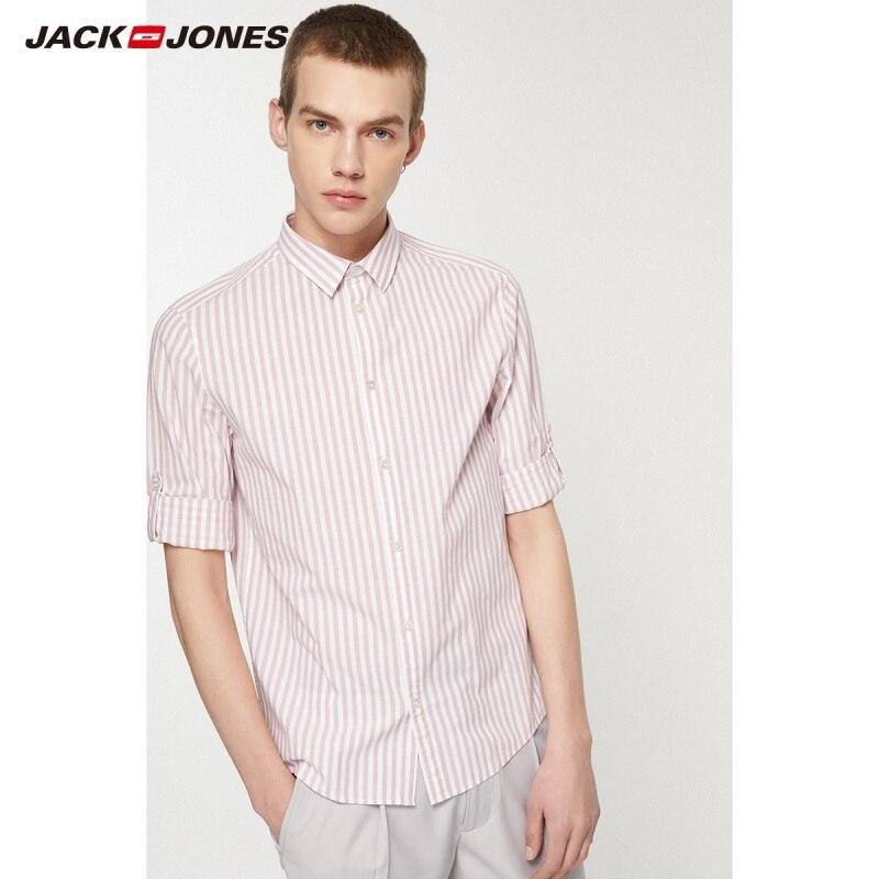JackJones Men's 100% Cotton New Fashion Casual Striped 3/4 Sleeves Shirt Menswear| 219231507