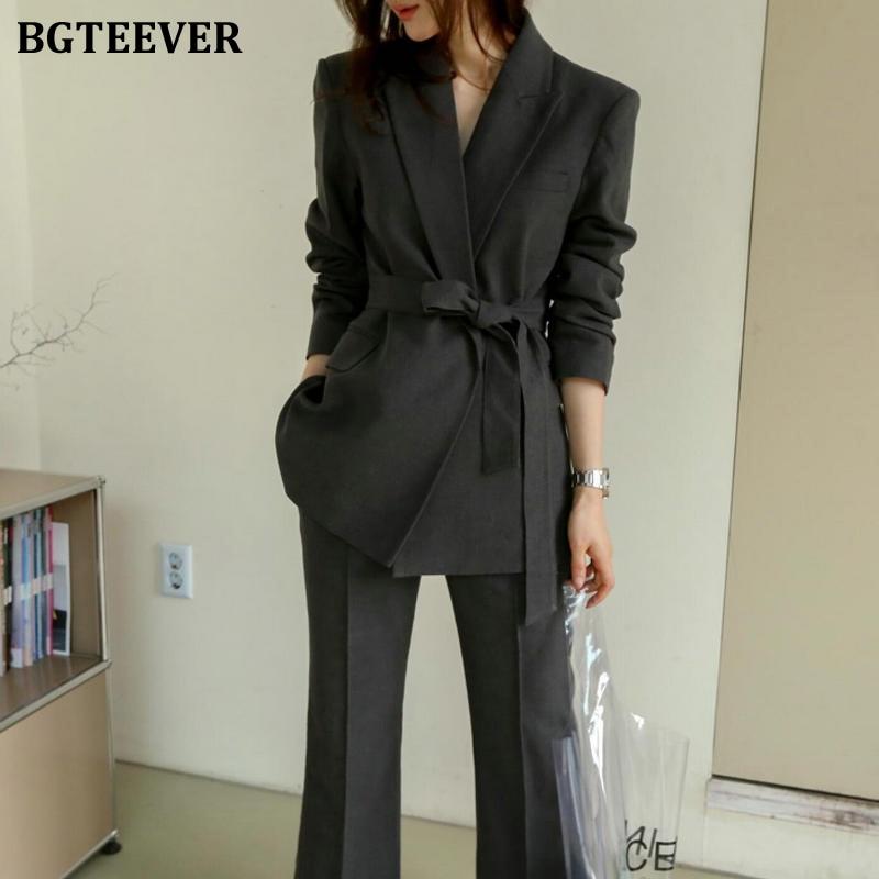 Office Ladies Blazer Suit Dark Gray Slim Women Pant Suit Korean Lace Up Jacket & High Waist Pant Casual Female 2 Pieces Set 2019