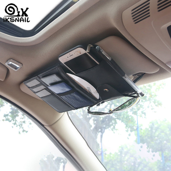 IKSNAIL Car Sun Visor Bill Pen Business Card Holder CD DVD Organizer Storage Box Sunglasses Clip Stowing Tidying Car Accessories