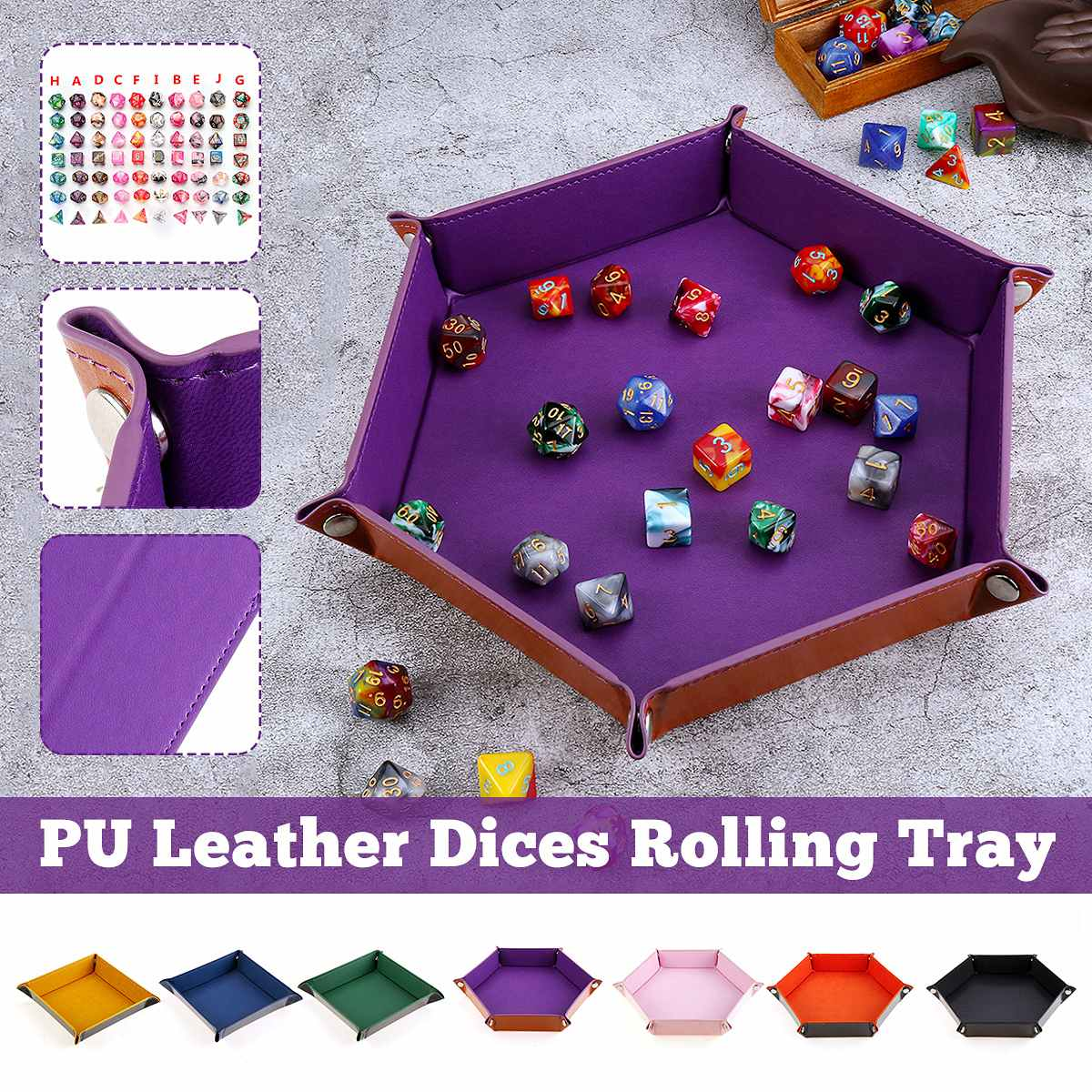 1pcs PU Leather Folding Dice Tray Polyhedral Club Dice Box Plate For RPG DnD Board Games D&D Dice Storage Case Dropshipping 2020
