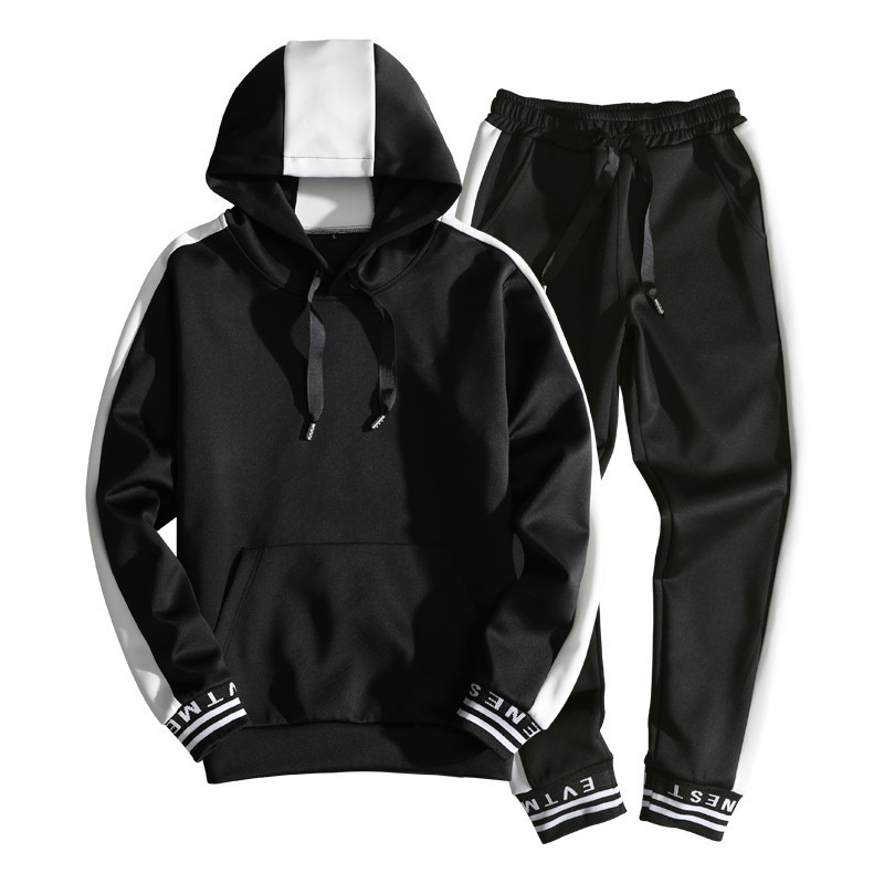2020 Spring New Men Sets Casual Hooded Jogger Tracksuit Male Solid Letter Print Sweatsuit Mens Sportswear Hoodies+Pants 2PC Sets