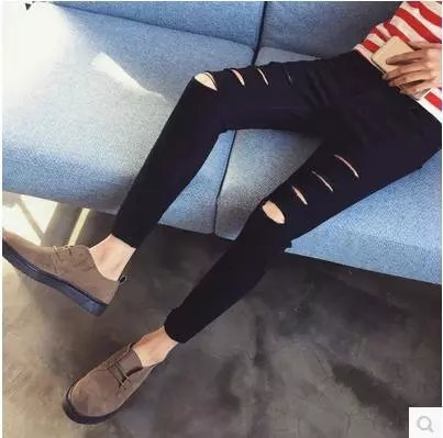 Multi-with Holes Pants Ripped Jeans Men's Trend Solid Black Denim (Ankle-length Pants) Knee With Holes Jeans 9 Pants
