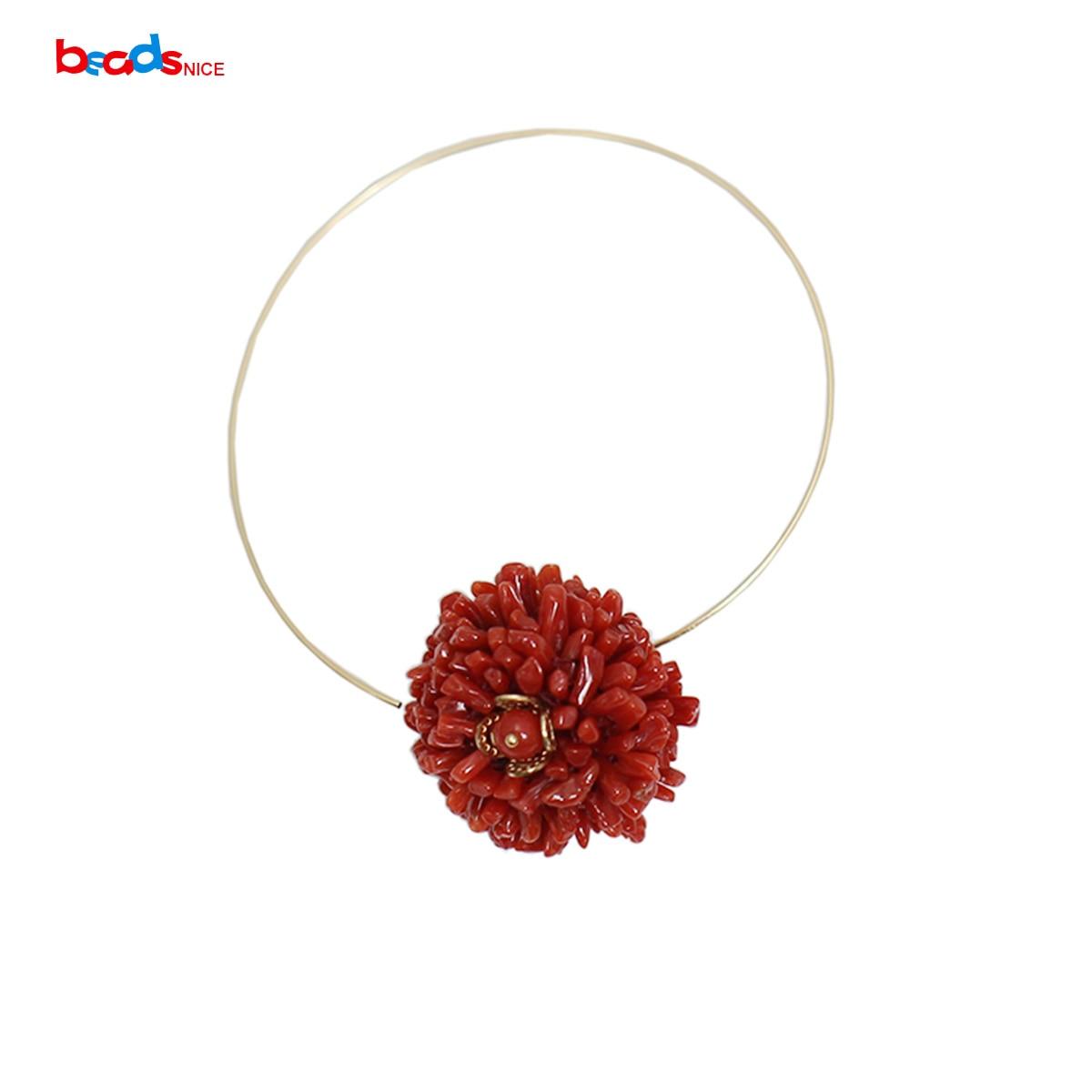 Beadsnice or rempli oreille anneau rouge corail boucle d'oreille bijoux fins pour les femmes 39740