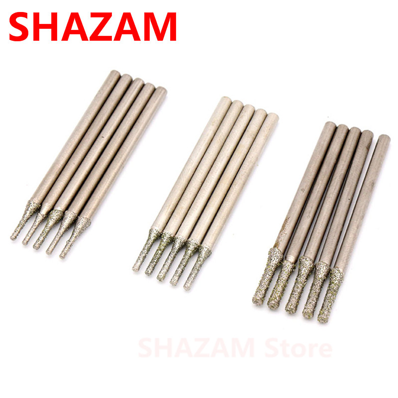 """5Pcs Diamond Grinding Bits 10mm 3//8/"""" Round Head Ball Burrs Carving Jewelry Tools"""