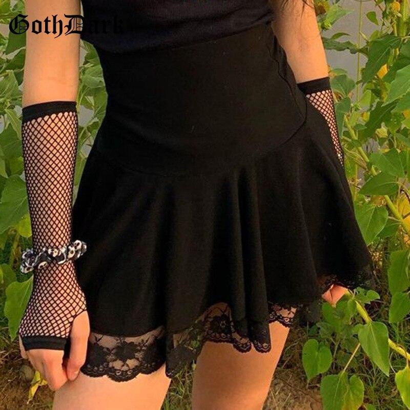 Готическая мини-юбка Goth Dark, черная плиссированная юбка трапециевидной формы с высокой талией, осенняя модная уличная одежда
