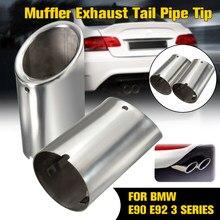 Silenciador de tubo de escape cromado, 2 uds., para BMW E90, E92, 325i, 328i, Serie 3