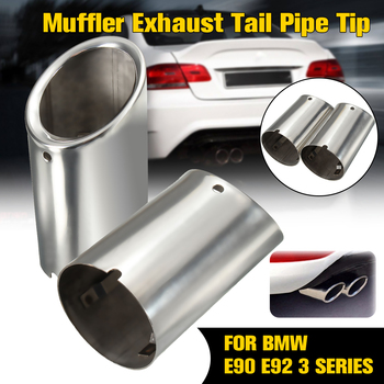 2Pcs Set Muffler Exhaust Tail Pipe Tip Chrome For BMW E90 E92 325i 328i 3 Series 2006-2010 image