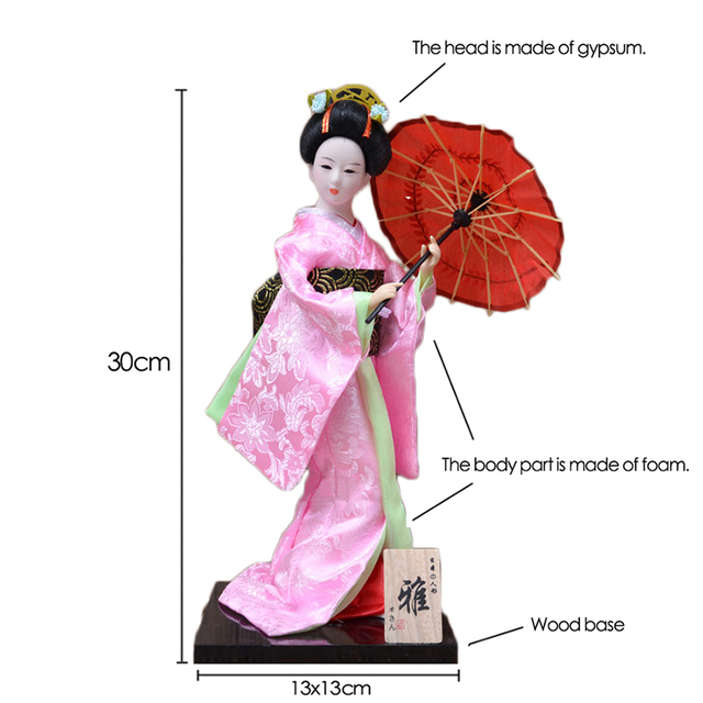 30cm Japanese Kimonos Dolls Traditional Japanese Geisha Figurines Statues Ornaments Home Restaurant Desktop Decoration Gifts 2