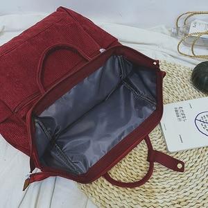 Image 5 - コーデュロイ女性のためのヴィンテージ冬カジュアル無地バックパック女性代の女の子学校bagpack mochila feminina