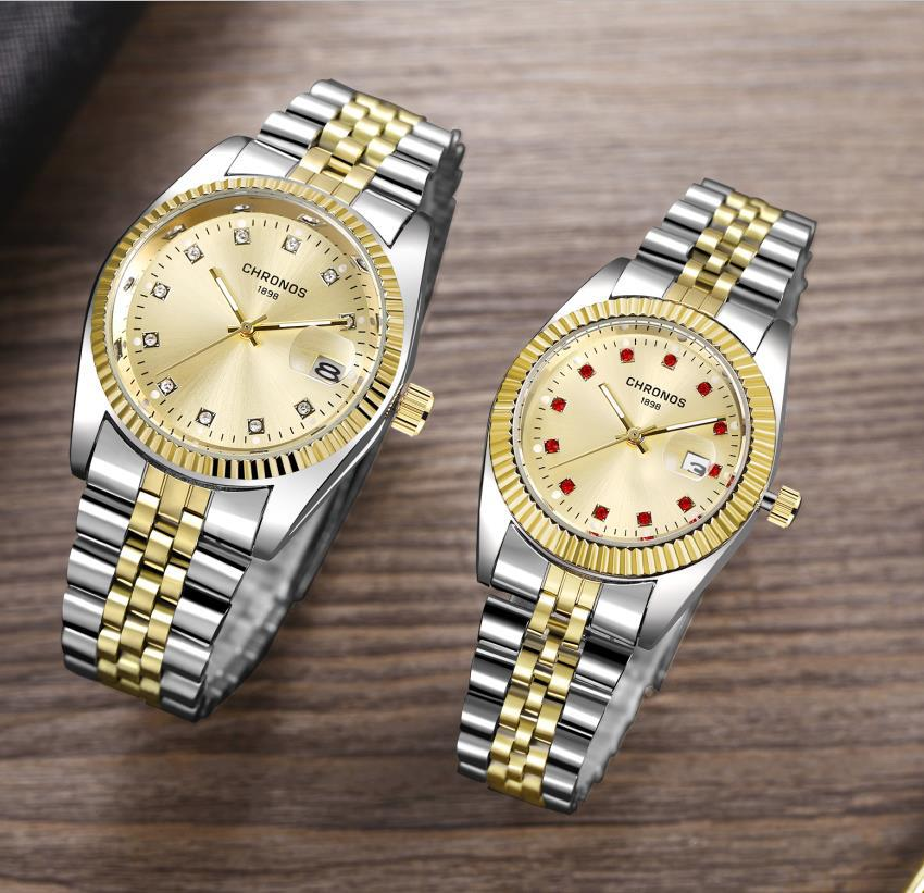 Couple Watch Diamond Women's Watch Luxury Gold LadyLover Stainless Steel Quartz Waterproof Wristwatches For Men Analog Auto Date