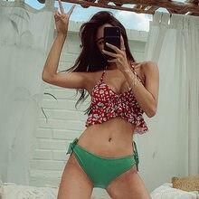 Women's Swimsuit Split Triangle Push Up Cute Small Chest Bikini Fashion Ruffles