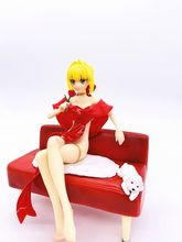 Fate/Extra Stay Night Fate Grand Order Sabel Lelie Nero Claudius Badjas Rode Jurk Ver. Pvc Action Figure Zitten Op Sofa Speelgoed