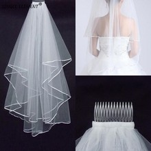 2 Tier Bridal Veil Beautiful Ivory Short Wedding Veils Satin Edge With Comb Bride