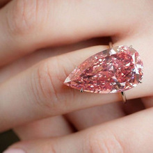 Newest Fashion Temperament Cubic Zirconia Pink Crystal Rings Water Drop Pear Shape Ring Female Wedding Party Accessories Jewelry
