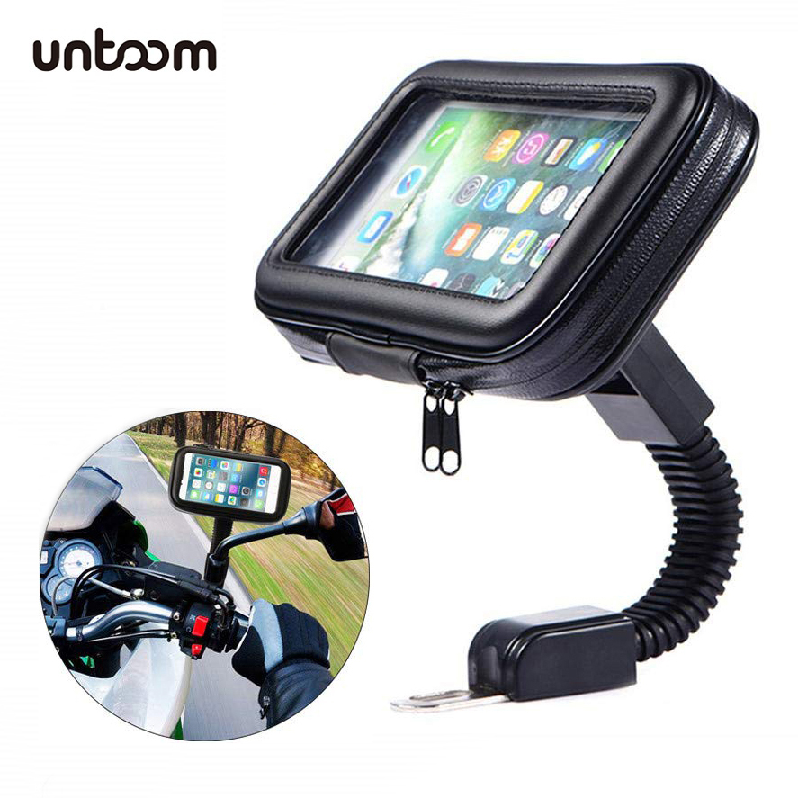 Motorcycle Telephone Holder Support Moto Bicycle Rear View Mirror Stand Mount Waterproof Scooter Motorbike Phone Bag for Samsung-in Phone Holders & Stands from Cellphones & Telecommunications on