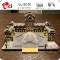 Lezi 8040 światowa architektura Paris Louvre Museum fontanna Model DIY Mini diamentowe klocki klocki zabawki do budowania dla dzieci bez pudełka