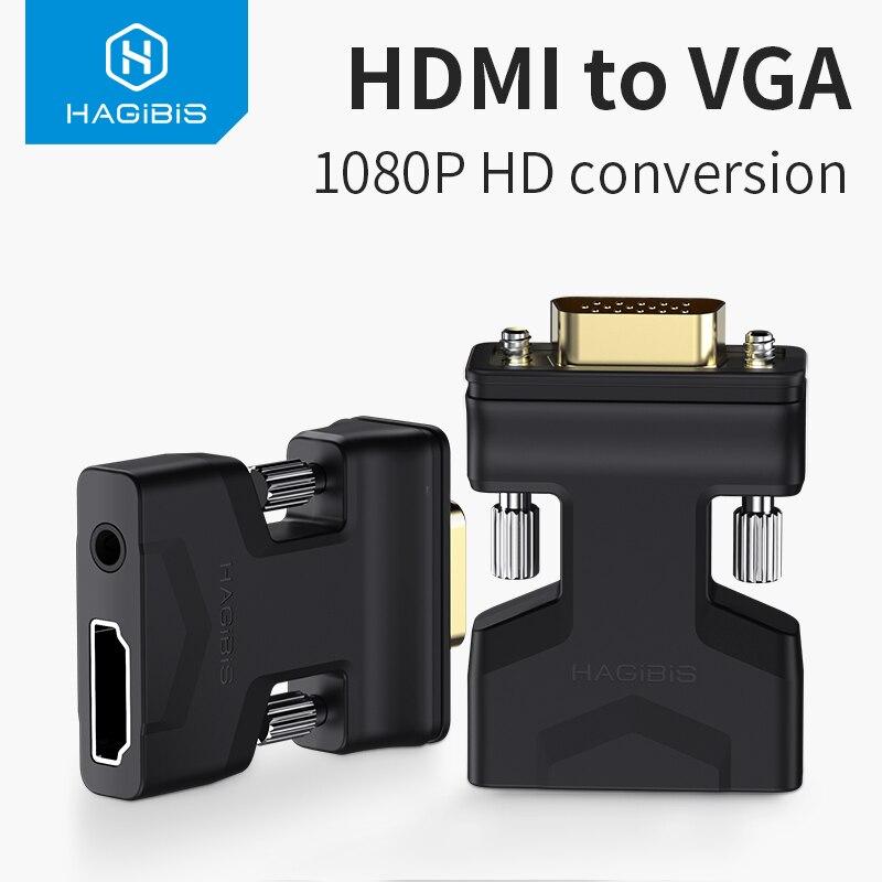 Adaptador de HDMI a VGA con puerto de Audio convertidor de vídeo hembra 3,5mm jack 1080P para PS4 Laptop PC TV Box Monitor proyector