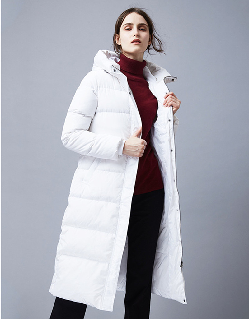 Quality High 2020 White Duck Down Jacket Women Warm Winter Coat Female Hooded Jackets Long Parkas Abrigo Mujer WXF174 S