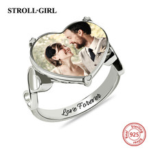 StrollGirl New 925 Sterling Silver custom Ring Engraved name Heart Shaped Wedding Photo Rings for Women Anniversary Jewelry Gift недорого