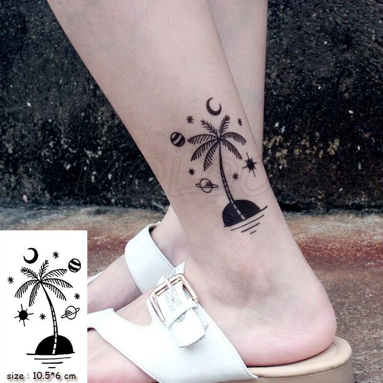 Waterproof Temporary Tattoo Stickers Coconut Palm Planet Tattoo Small Size Tatto  Flash Tatoo Fake Tattoos For Man Girl Women