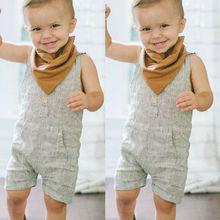 Newborn Baby Boy Girl Cotton Linen Outfit Clothes Sleeveless Romper Tops Button