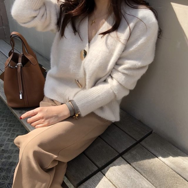 Mooirue Autumn Women Soft White Knitted Cashmere Sweater Double Button Women Warm Jumper V-Neck Winter Sweater 25