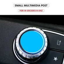 1pc decoração botão multimídia botão de controle do carro adesivo apto para mercedes benz amg a b cla gla gle ml gl c w204 classe