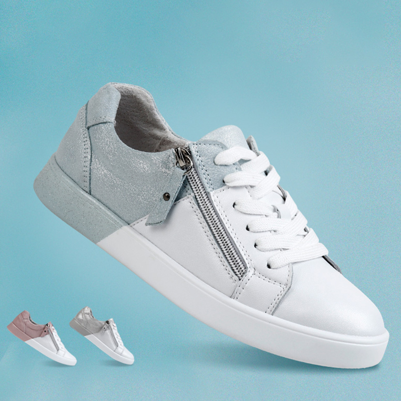 STQ 2020 New Women Flats Shoes Genuine Leather Sneakers Women Shoes Lace Up Casual Shoes Ladies Mixed Color Oxford Shoes 16010