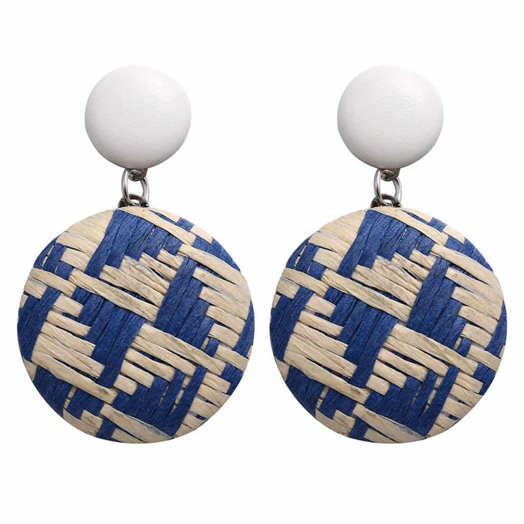 Tangan Membuat Besar Bohemian Anting-Anting Kayu Bambu Rotan Geometris Bulat Anting-Anting Perhiasan Wanita Etnis Liontin Biru Hadiah Pesta Pantai