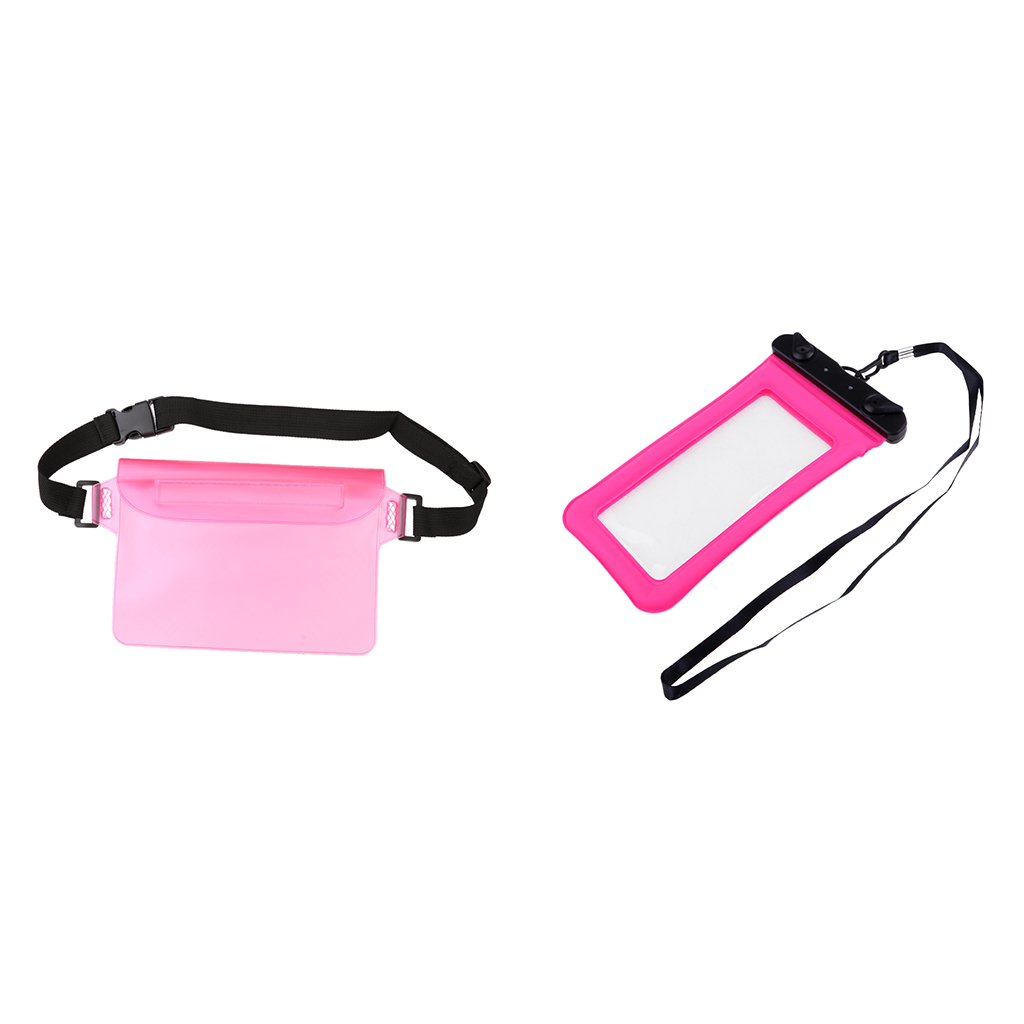 2-Pack Waterproof Waist Pouch with Transparent Screen Touchable Dry Bag Adjustable Belt for Phone Valuables