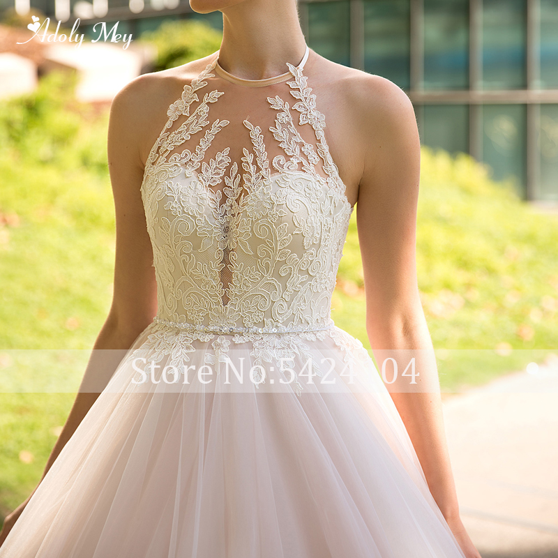 Image 3 - Adoly Mey Romantic Halter Neck Backless A Line Wedding Dress 2020 Luxury Beaded Sashes Appliques Court Train Vintage Bridal GownWedding Dresses   -