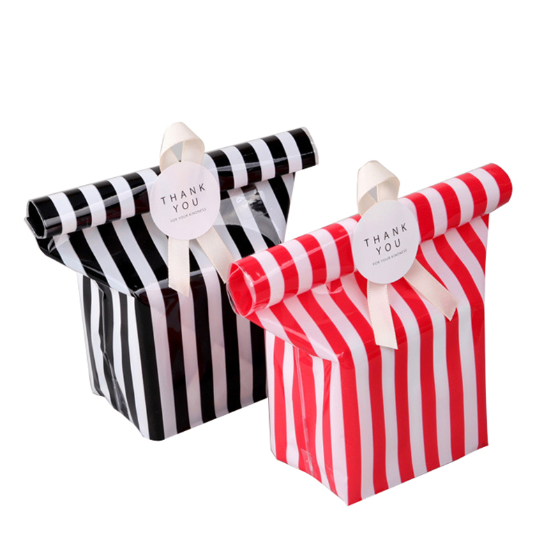 10 Pcs Color Plastic Striped Cookie Candy Gift Bags Seal Package Bag Cellophane Birthday Gift Bag Party Favors Ribbon