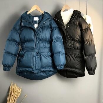 2020 Women Winter Coat Long Sleeve Hooded Collar Women Pure Color Warm Jacket Coat With Belt Casaco Feminino Cotton Thick Coat