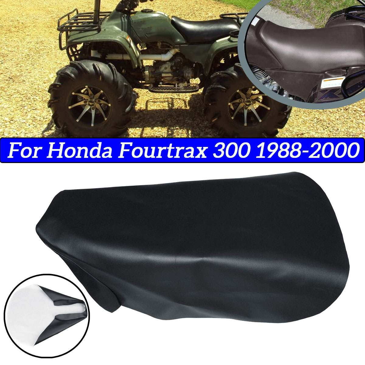 Motorcycle ATV Seat Cover Protect Pad PU Leather Black Seat Cushion Cover For Honda Fourtrax 300 1988-2000