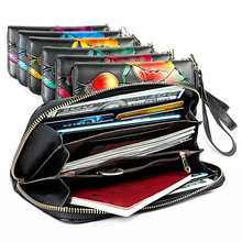 High Quality Printing Cow Leather Wallet Women's Hasp Zipper Walets Female Purse Long Women Wallets Clutch Bag 2020 Cute Wallet high capacity fashion women wallets long dull polish cow leather wallet female zipper