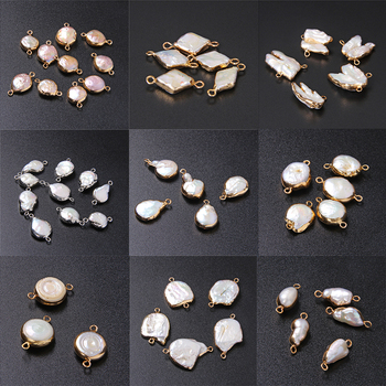 3pcs/lot Irregular Natural Freshwater Pearl Pendant Double Hole Connector Charms for Jewelry Making Accessries