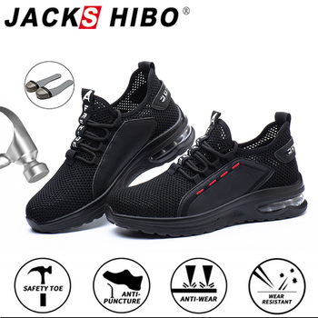 JACKSHIBO Hollow Breathable Men Work Safety shoes Anti-smashing Steel Toe Cap Working Boots Construction Indestructible Shoes
